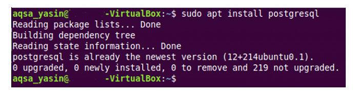 Спомощью этой команды высможете очень удобно установить PostgreSQL