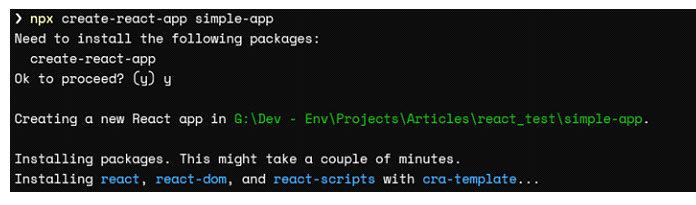 Сначала мысоздадим приложение React, используя следующую команду