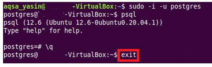 Теперь для выхода изсервера PostgreSQL вам необходимо