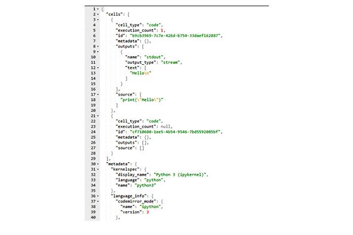 Теперь, если мыоткроем файл test.ipynb как файл JSON