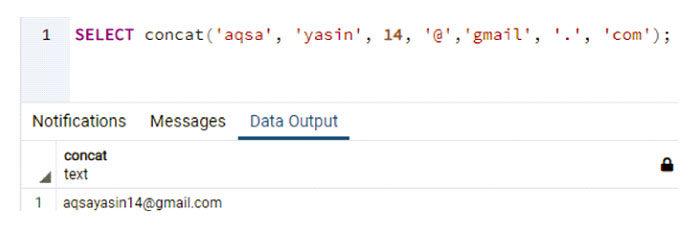 В этом примере будет использоваться метод Concat для объединения
