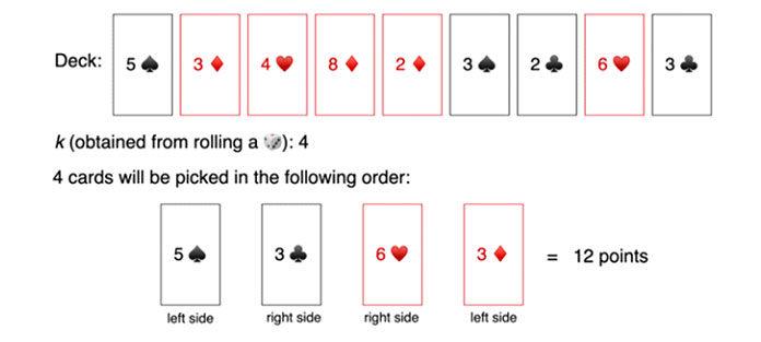В приведенном выше примере, игрок выбрал карты 5, 3, 6, и, 3 чтобы