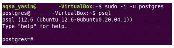 Выможете увидеть консоль PostgreSQL наследующем изображении