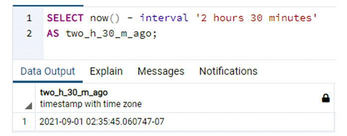 Выходные данные показывают дату ивремя для интервала, прошедшего 2часа