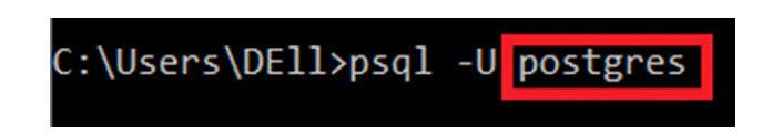 Здесь «postgres» представляет собой имя пользователя поумолчанию