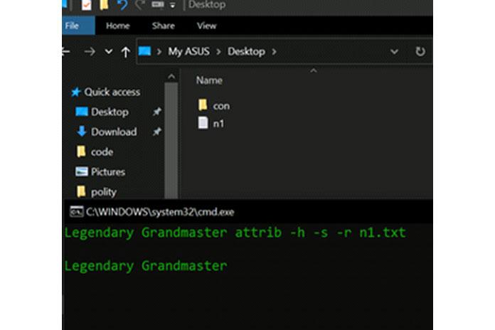 attrib +h +s +r filename