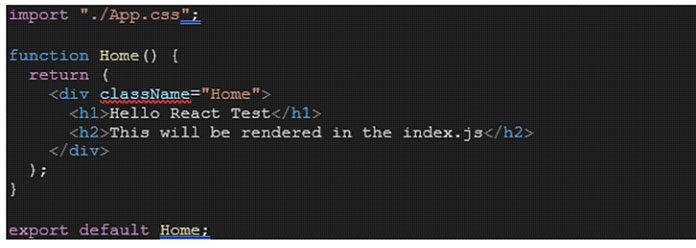 файл сименем Home.js иотрендерив его как результат
