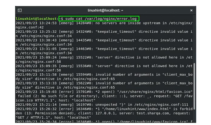 Чтобы проверить содержимое access_log