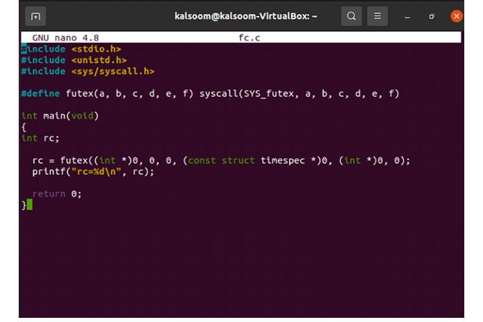Это один изсамых простых примеров системного вызова futex ()