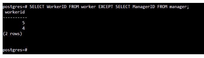 Этот запрос отобразит все теидентификаторы изтаблицы «worker»