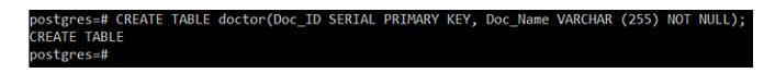 Этот запрос создаст таблицу «врач» сдвумя атрибутами, тоесть Doc_ID