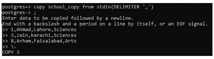 Теперь добавьте данные этого файла, используя тотже оператор stdin копии