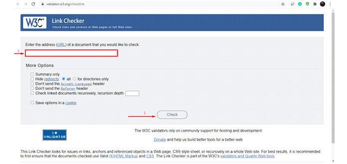 Вонлайн-инструменте W3C Link Checker выдолжны