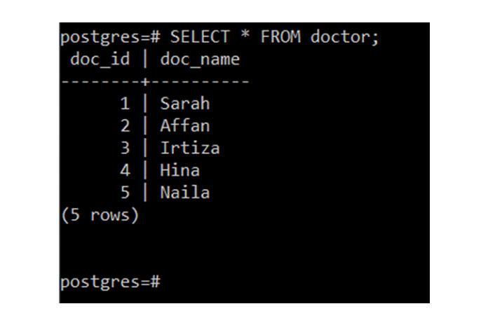 Выможете увидеть все записи таблицы «врач» наизображении ниже